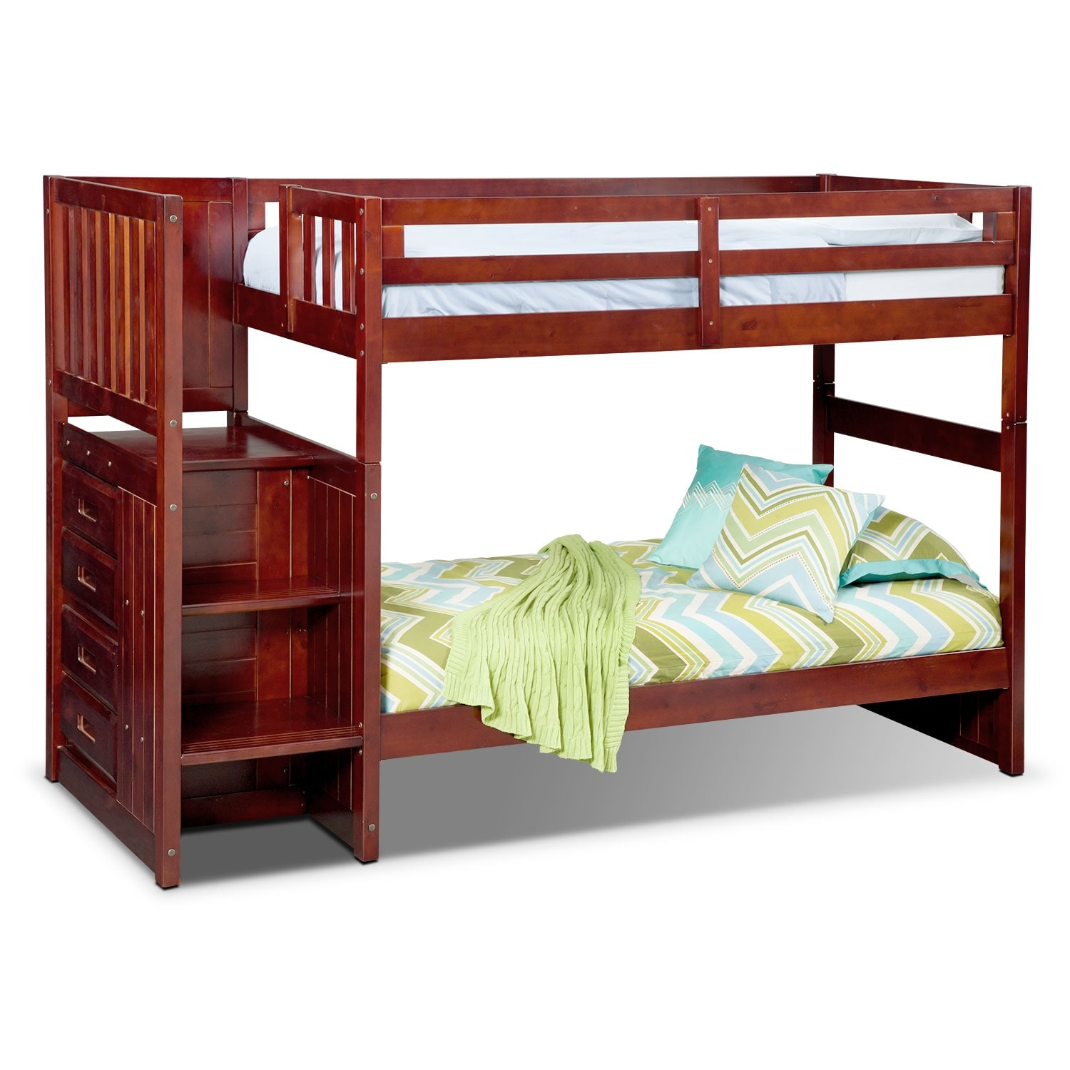 Kids Furniture - Ranger Twin over Twin Bunk Bed with Storage Stairs