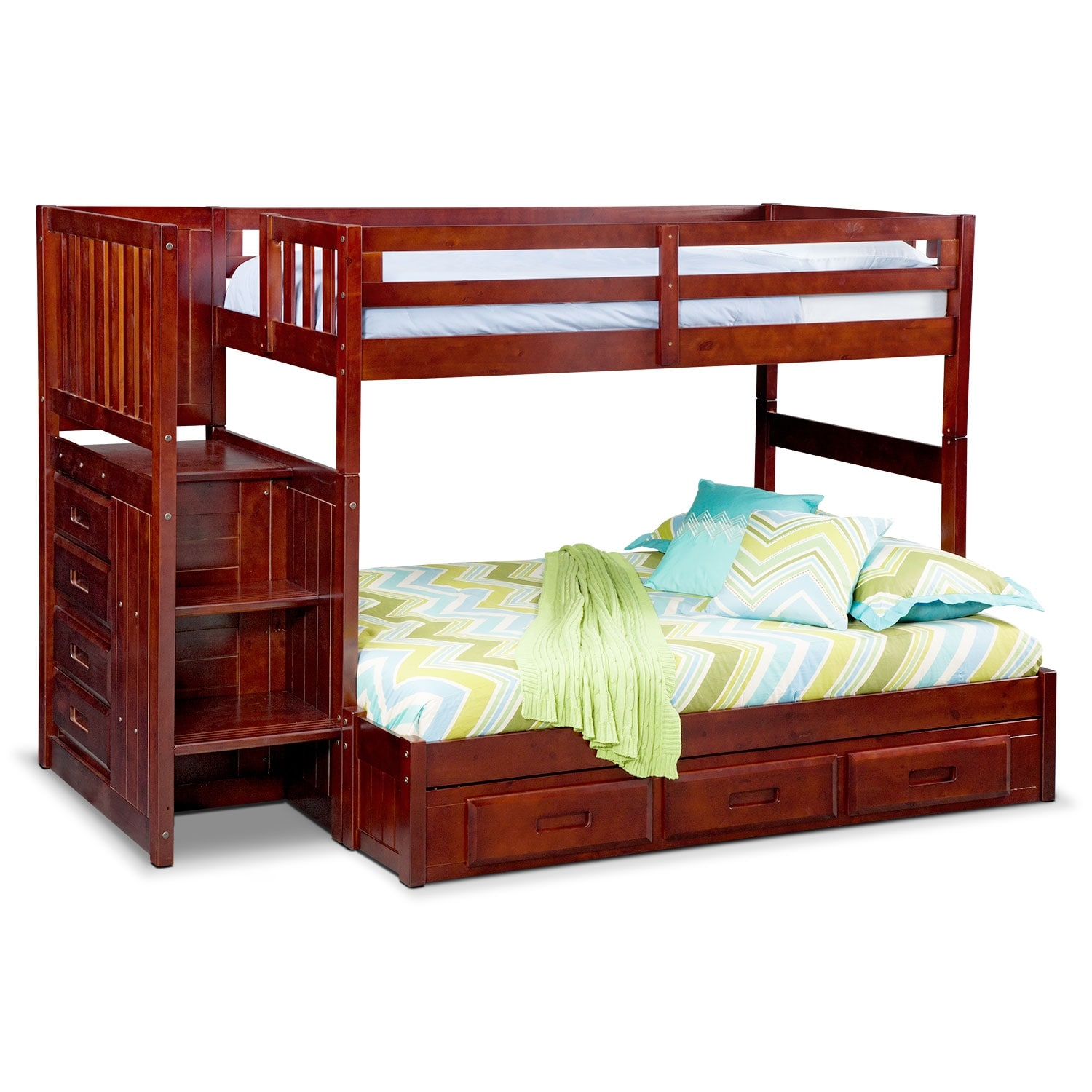 Ranger twin over full bunk bed with storage stairs underbed drawers merlot american - Kids twin beds with storage drawers ...