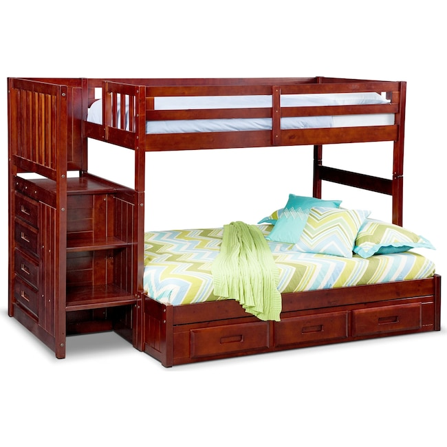 Kids Furniture - Ranger Twin over Full Bunk Bed with Storage Stairs & Underbed Drawers - Merlot