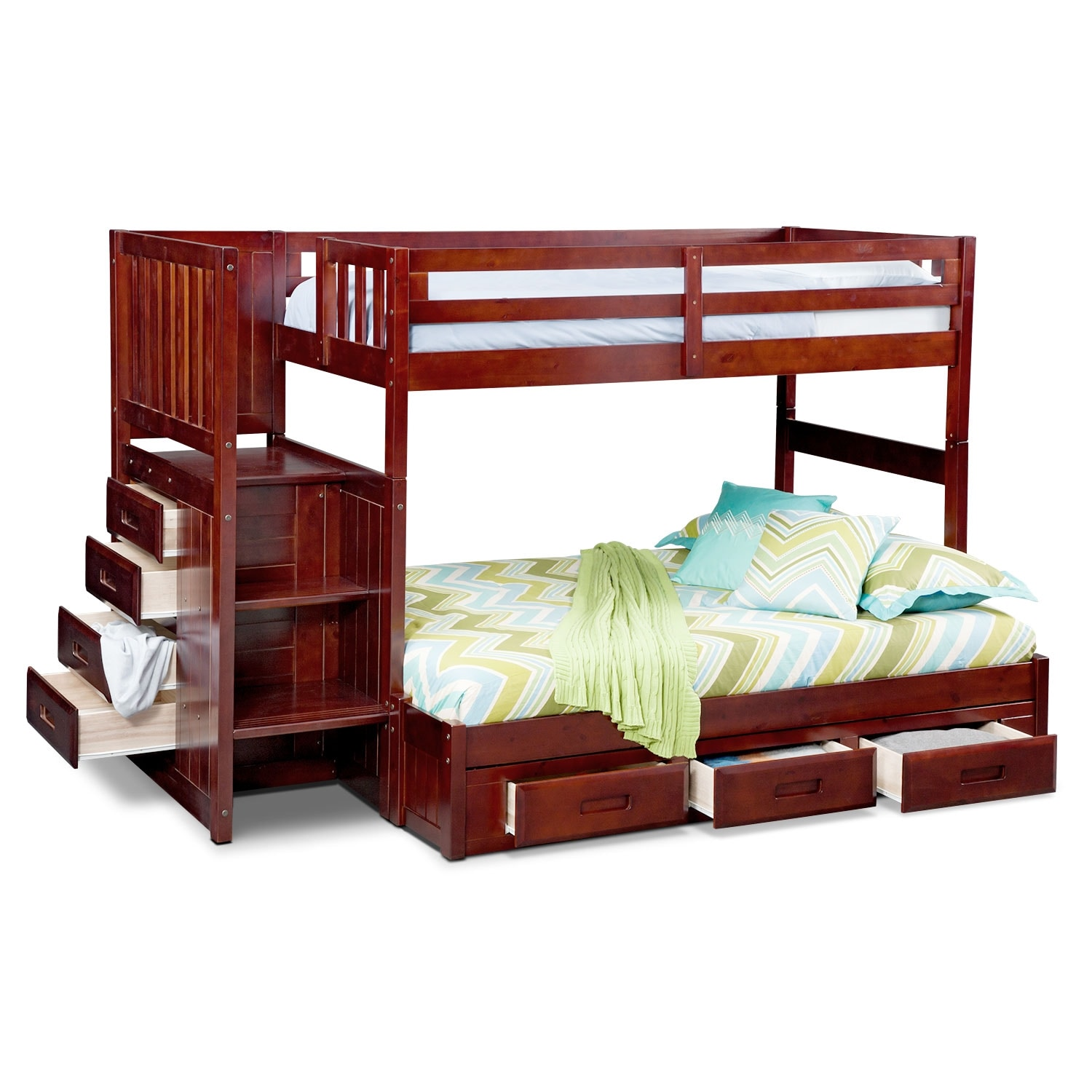 Ranger twin over full bunk bed with storage stairs underbed drawers merlot american - Bunk bed with drawer steps ...