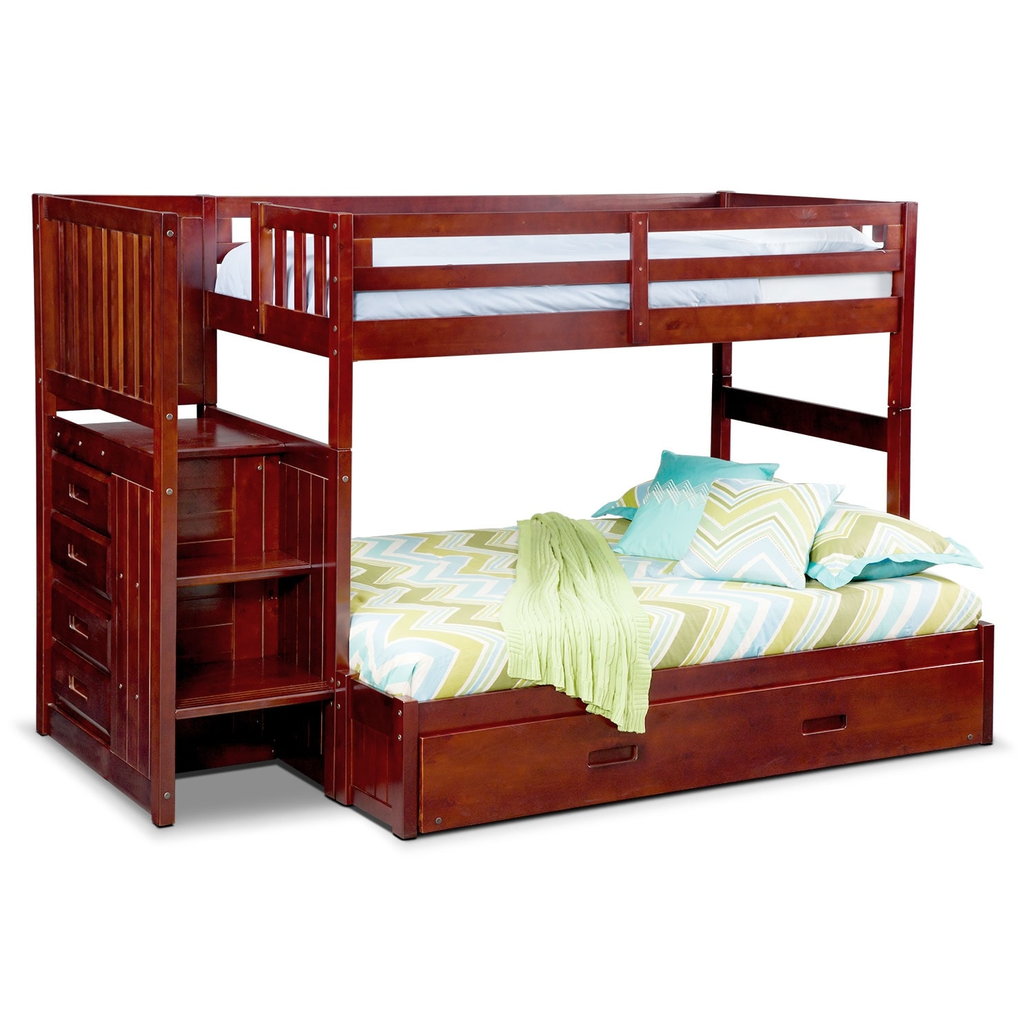 ranger twin over full bunk bed with storage stairs and twin trundle merlot american. Black Bedroom Furniture Sets. Home Design Ideas