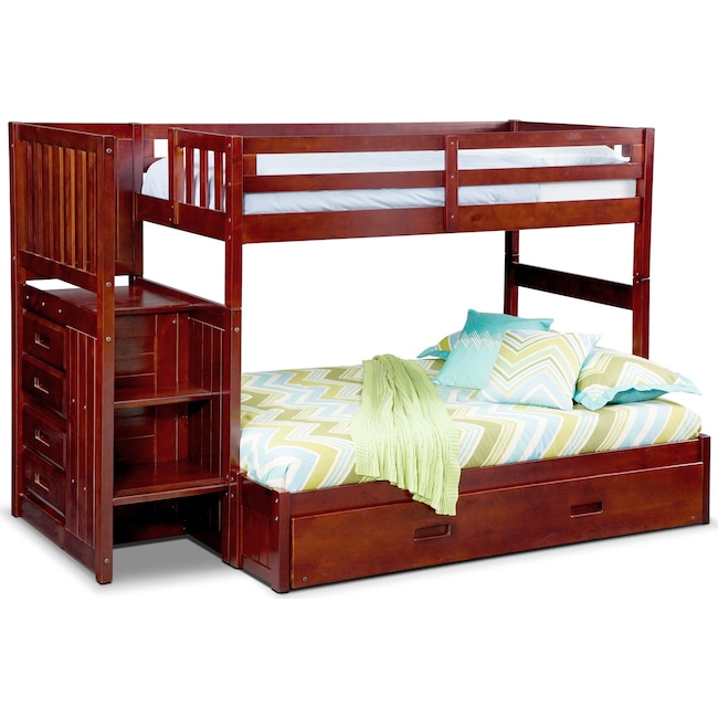 Kids Furniture - Ranger Twin over Full Bunk Bed with Storage Stairs and Twin Trundle - Merlot