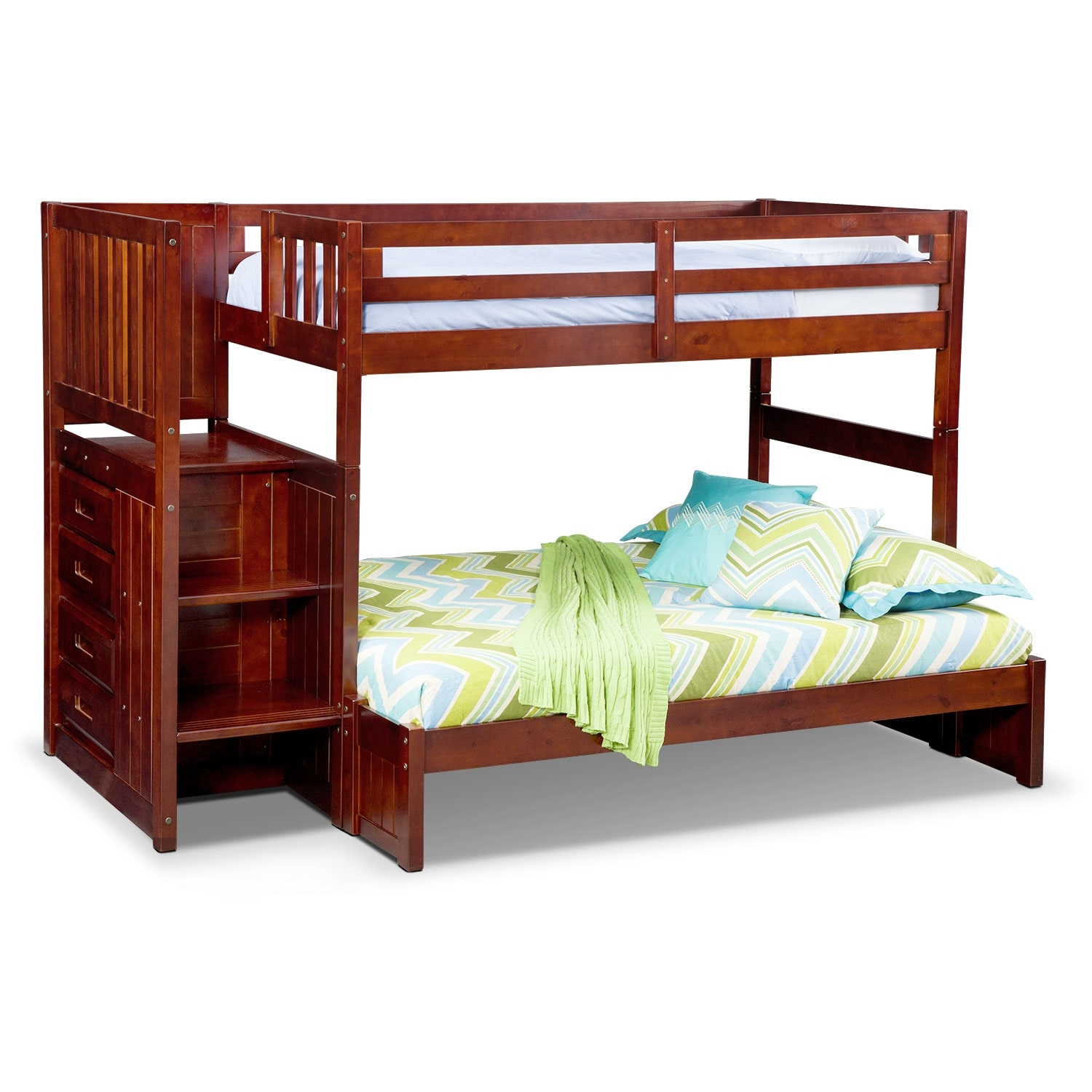 Kids Furniture - Ranger Merlot Twin/Full Bunk Bed with Stairs and 4-Drawer Storage