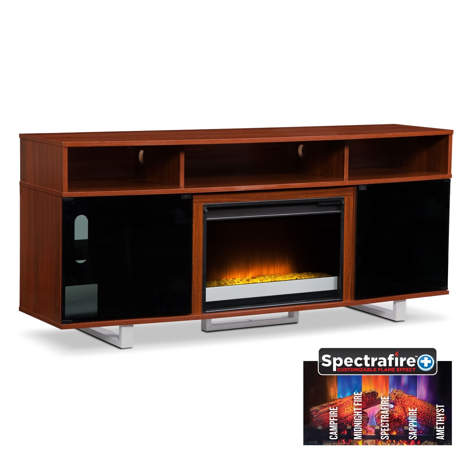 "Pacer 72"" Contemporary Fireplace TV Stand - Cherry"