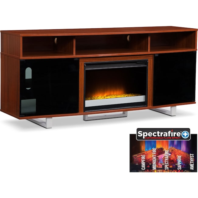 """Entertainment Furniture - Pacer 72"""" Contemporary Fireplace TV Stand - Cherry"""
