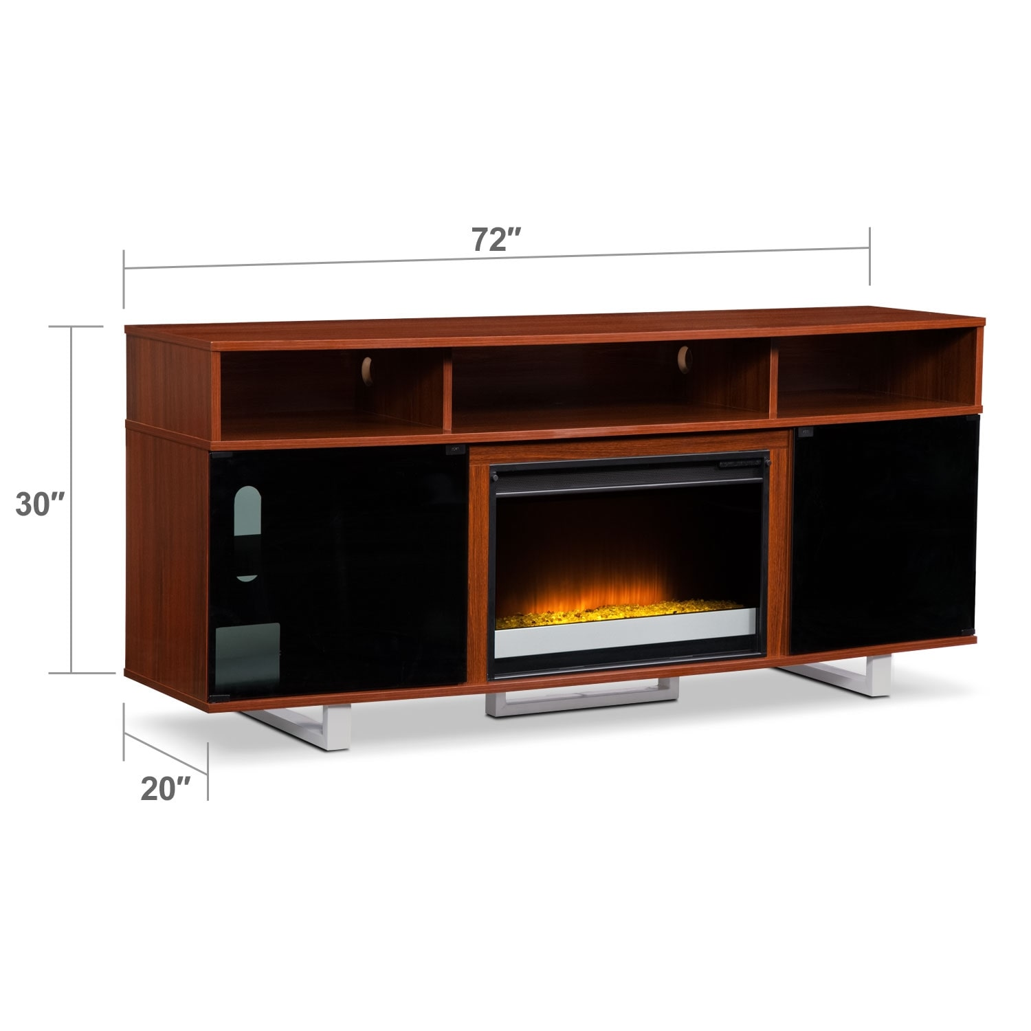 "Entertainment Furniture - Pacer Cherry 72"" Contemporary Fireplace TV Stand"