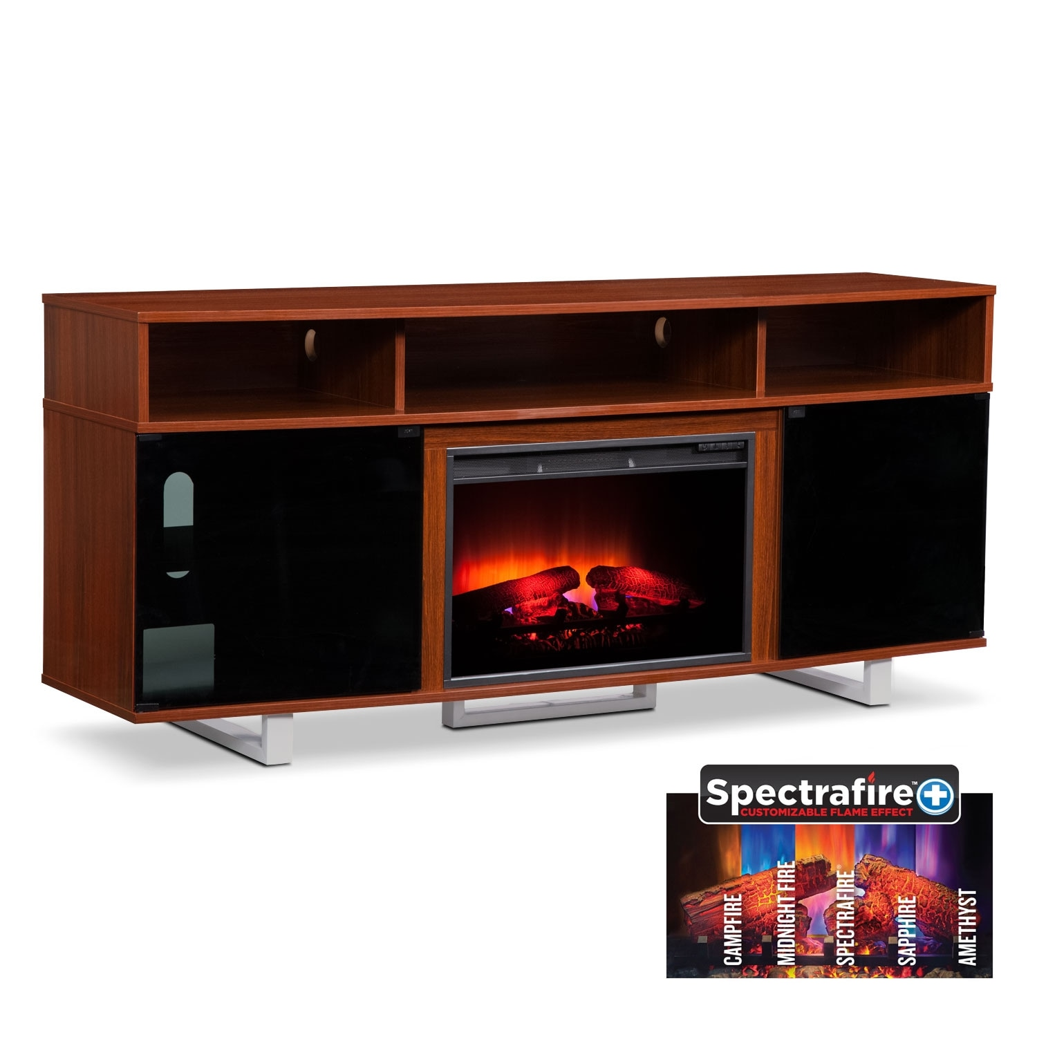 "Entertainment Furniture - Pacer Cherry 72"" Traditional Fireplace TV Stand"