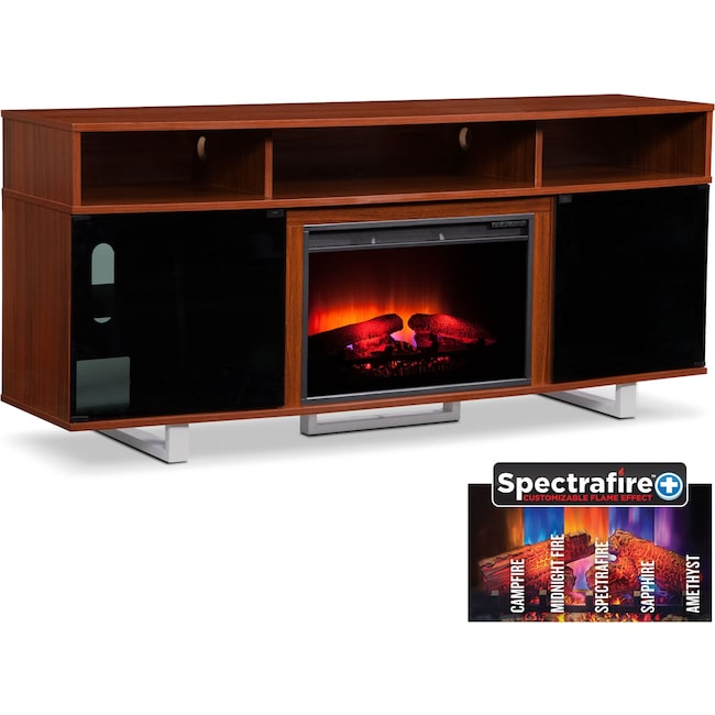"""Entertainment Furniture - Pacer 72"""" Traditional Fireplace TV Stand - Cherry"""