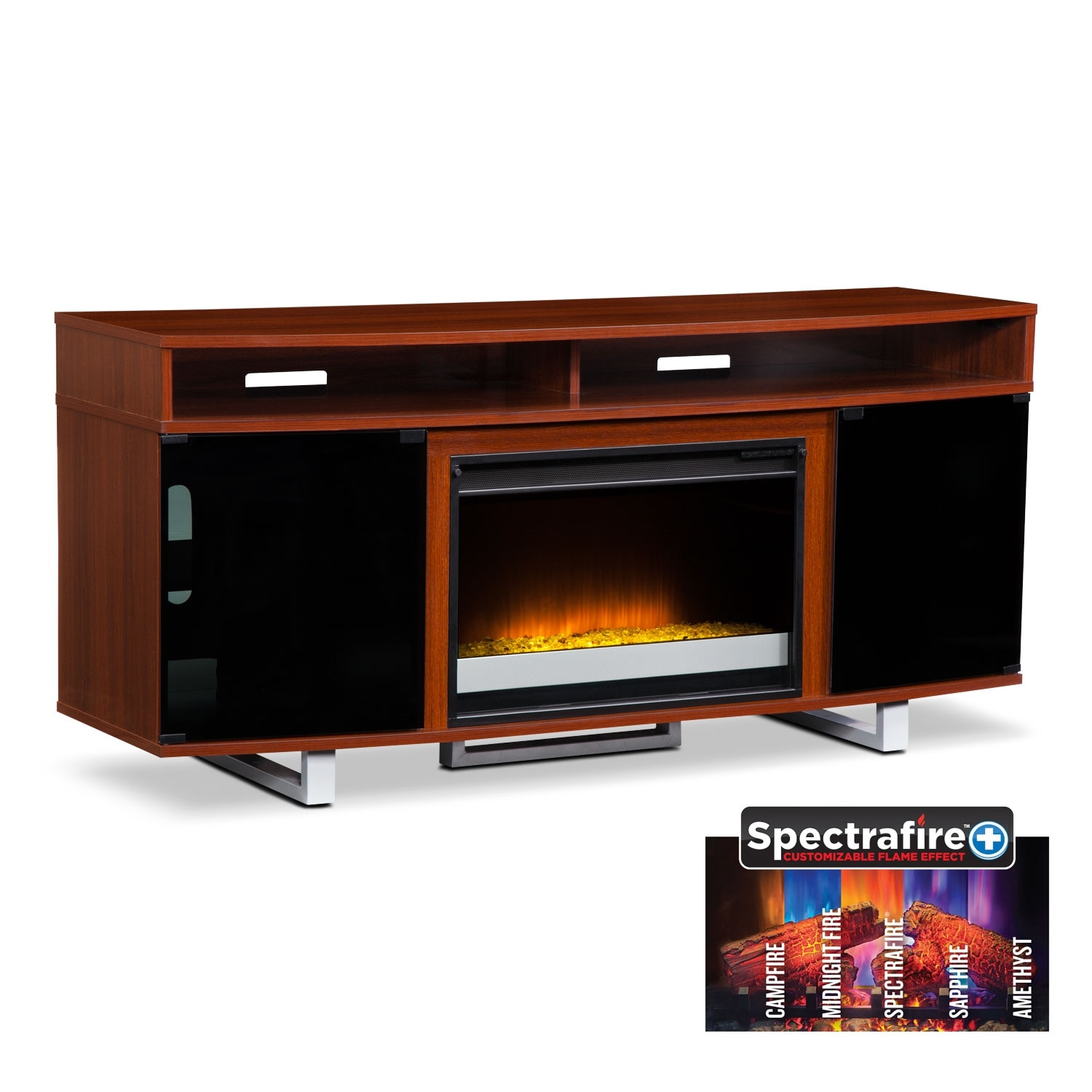 "Entertainment Furniture - Pacer 64"" Contemporary Fireplace TV Stand - Cherry"