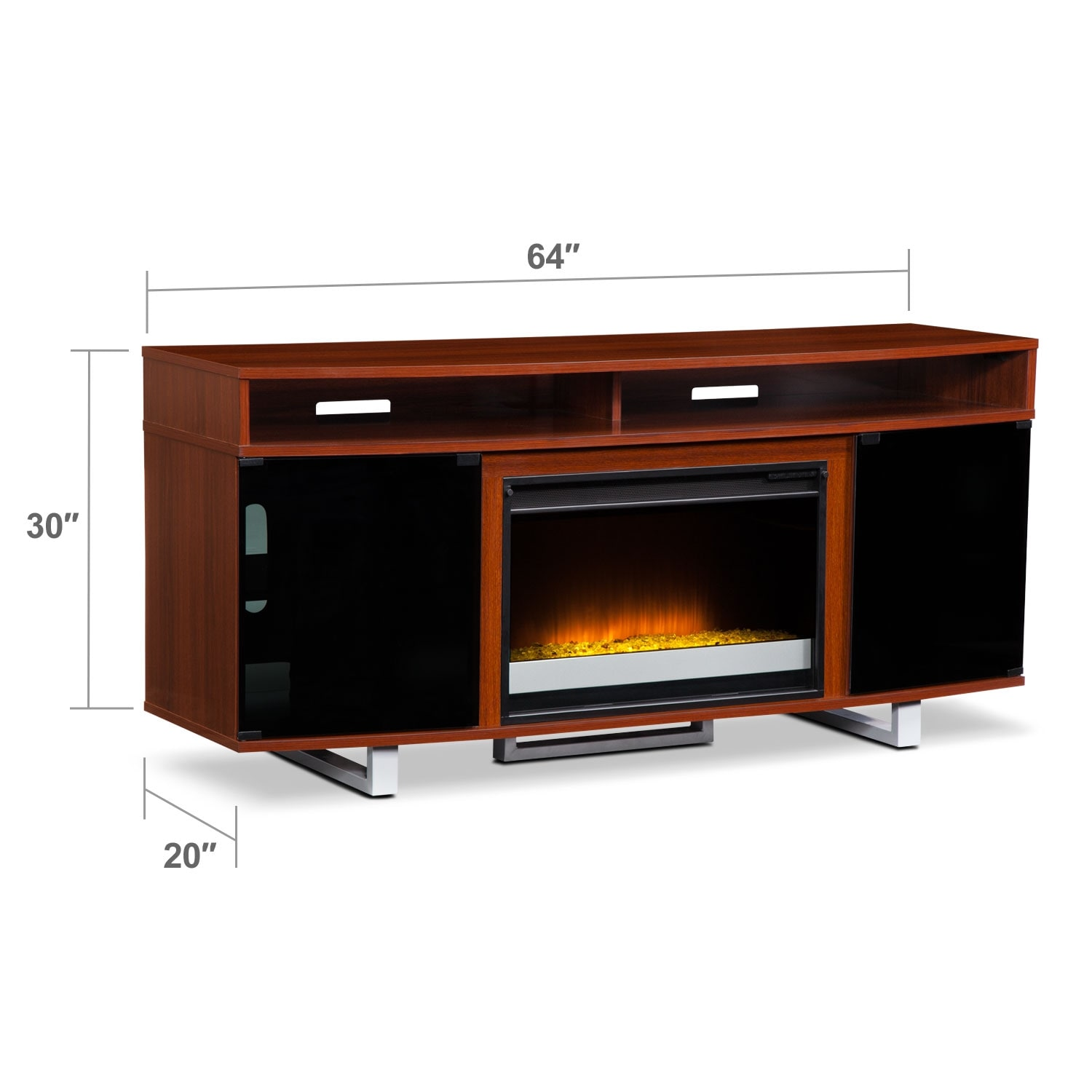 pacer 64 contemporary fireplace tv stand cherry