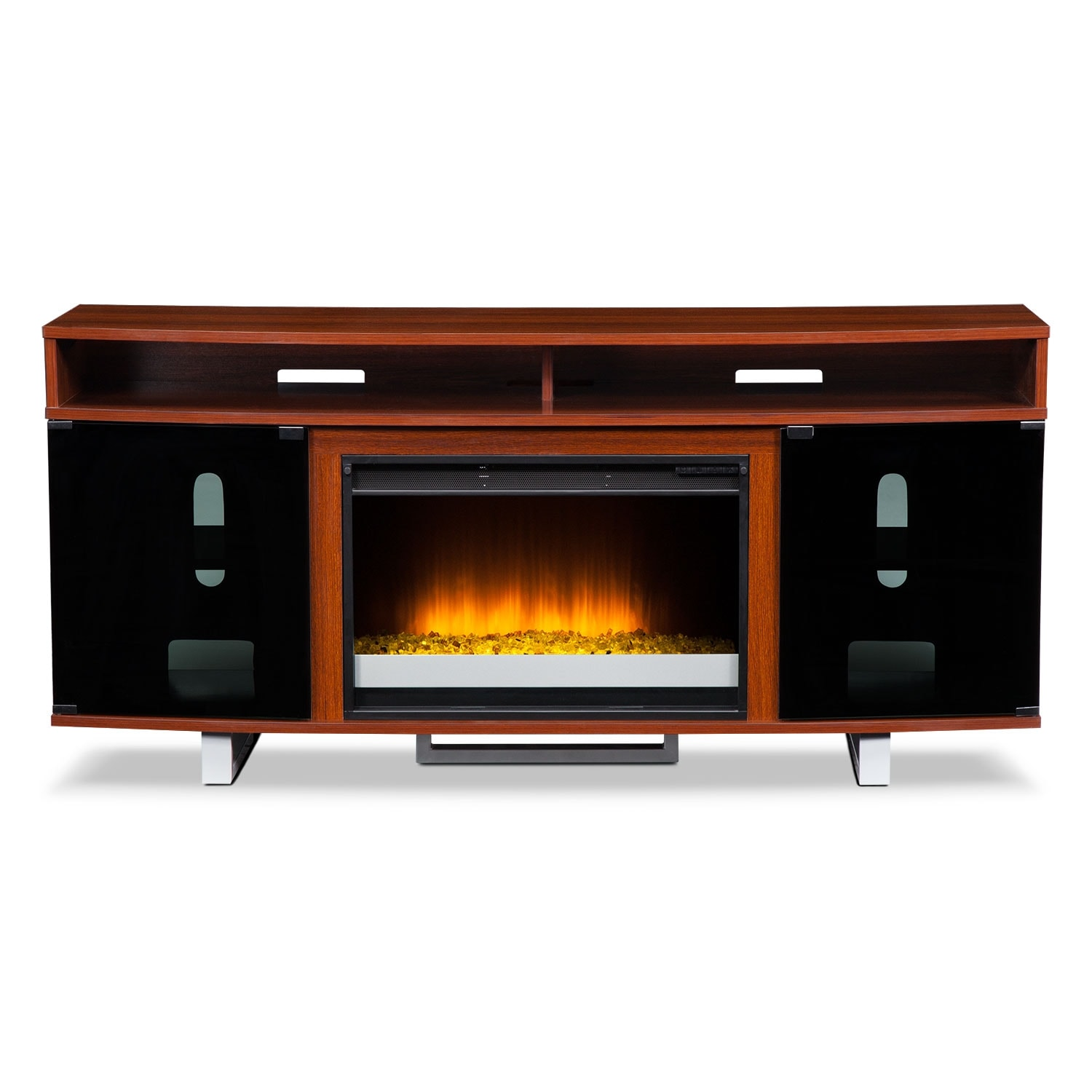 Pacer 64 Contemporary Fireplace Tv Stand Cherry American Signature Furniture