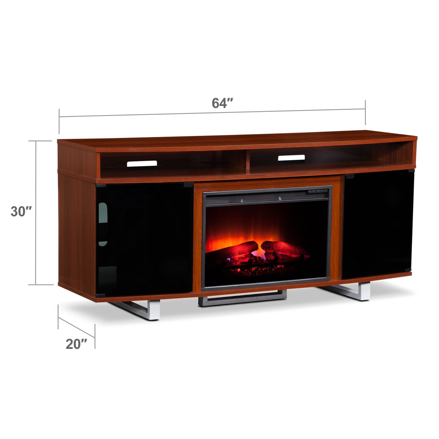 """Entertainment Furniture - Pacer 64"""" Traditional Fireplace TV Stand - Cherry"""