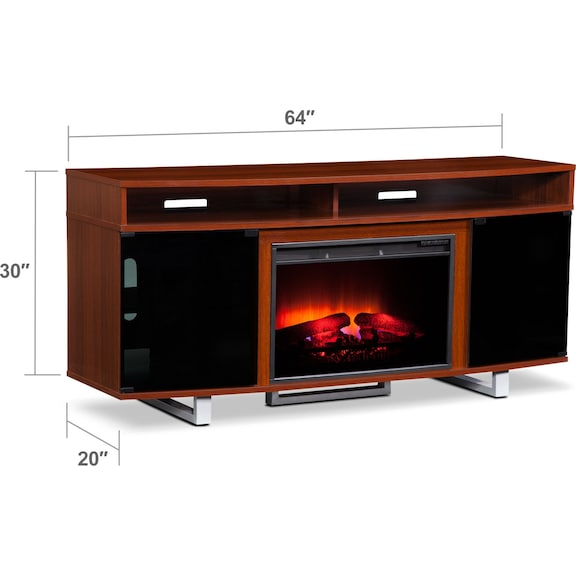 "Entertainment Furniture - Pacer 64"" Traditional Fireplace TV Stand - Cherry"