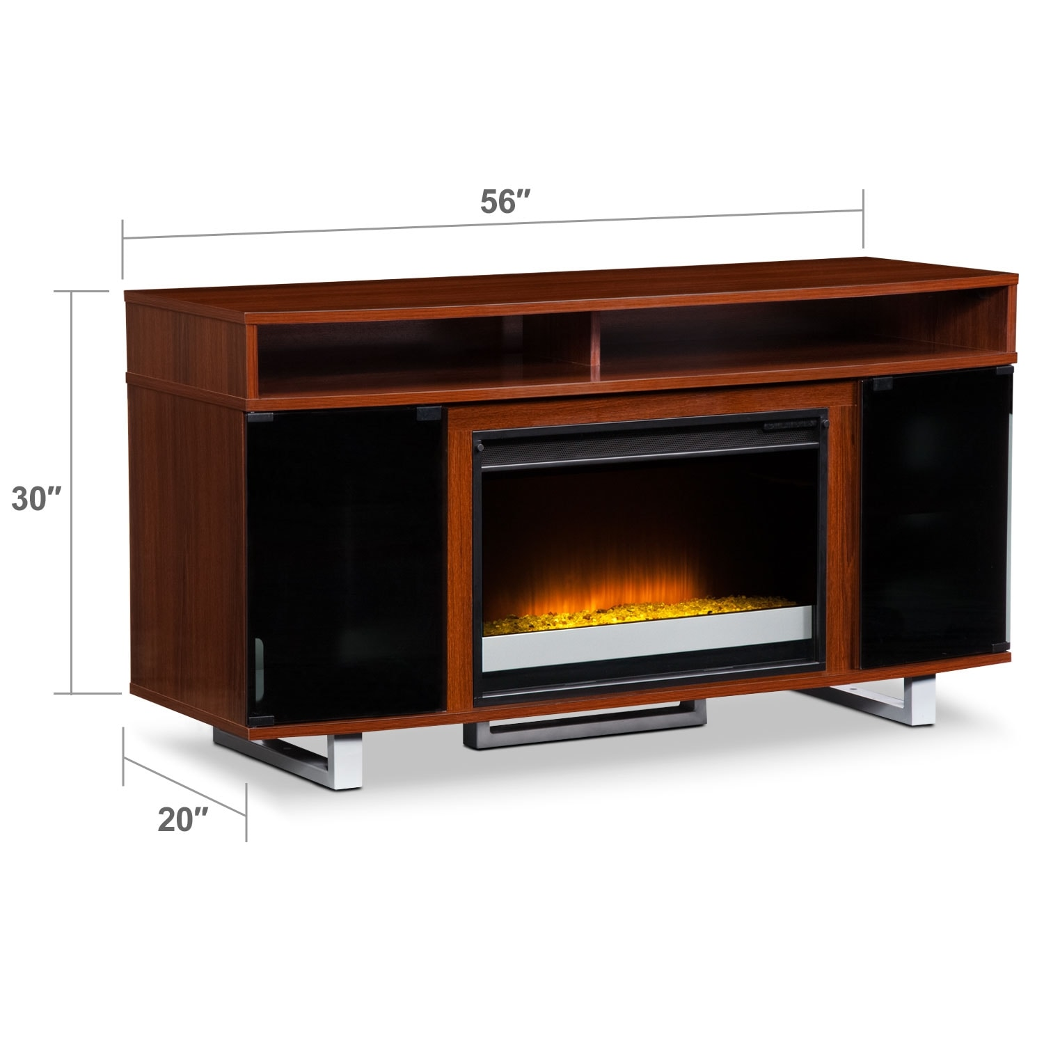 """Entertainment Furniture - Pacer 56"""" Contemporary Fireplace TV Stand - Cherry"""