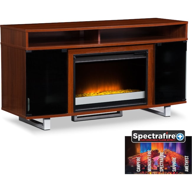 "Entertainment Furniture - Pacer 56"" Contemporary Fireplace TV Stand - Cherry"