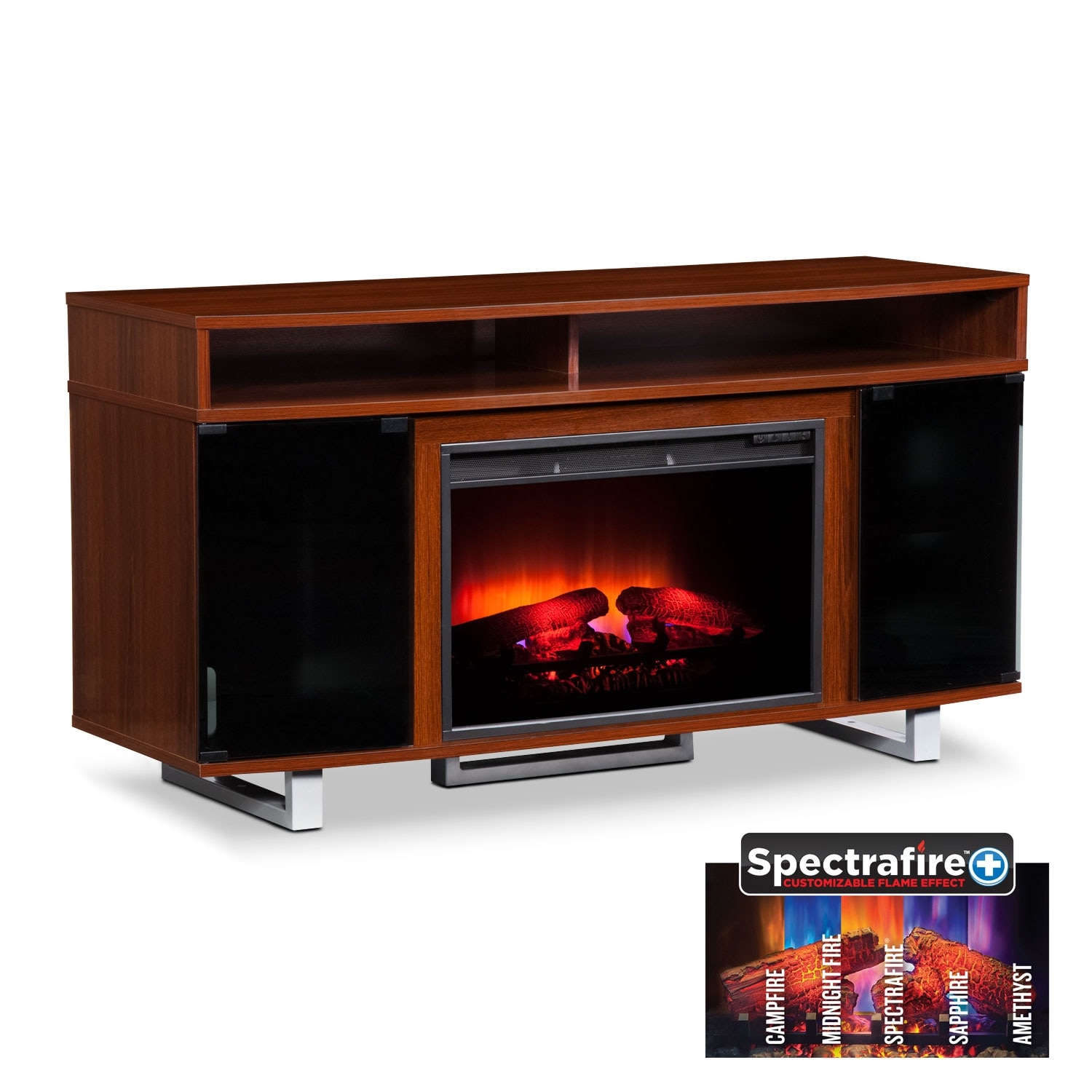 """Entertainment Furniture - Pacer 56"""" Traditional Fireplace TV Stand - Cherry"""