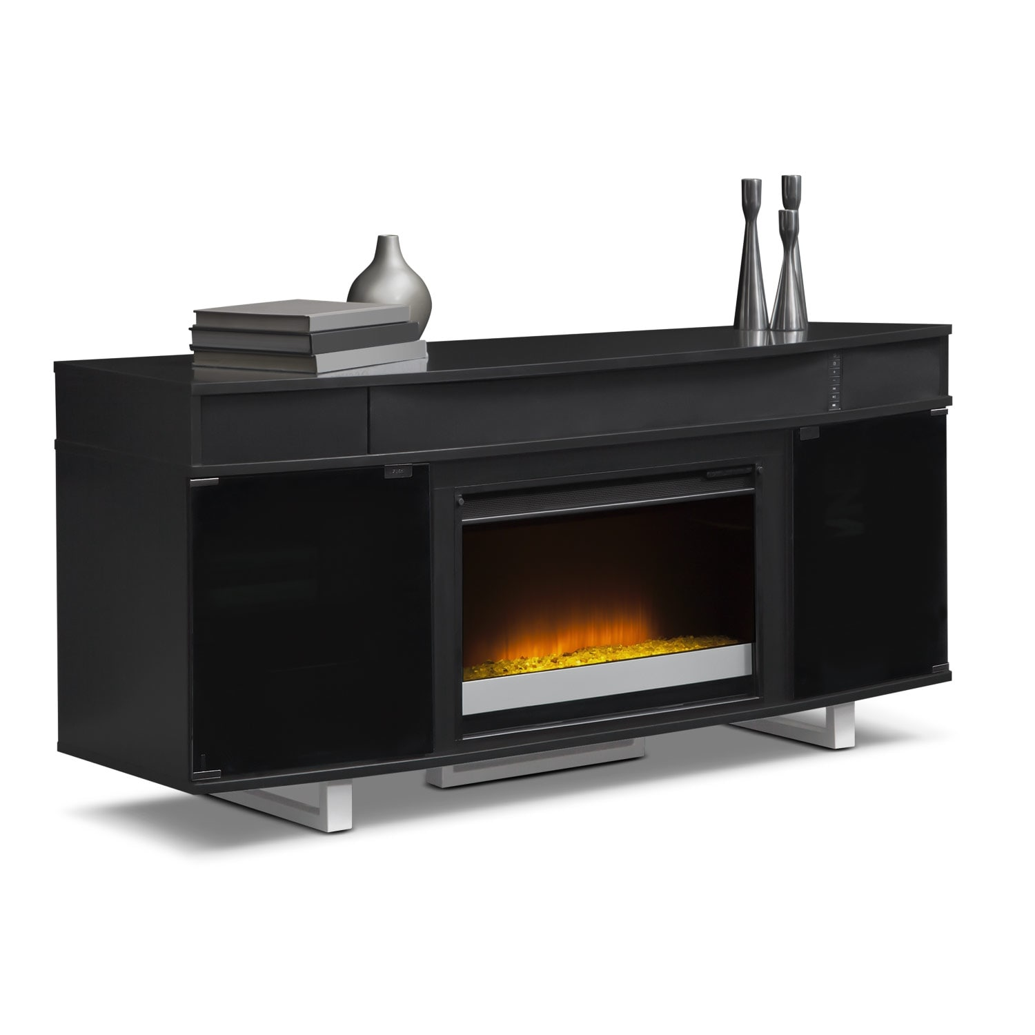 Pacer 64 Contemporary Fireplace Tv Stand With Sound Bar Black American Signature Furniture