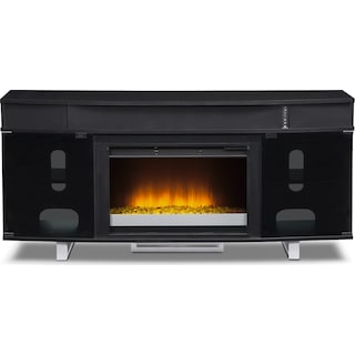 """Pacer 64"""" Contemporary Fireplace TV Stand with Sound Bar - Black"""