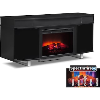 "Pacer 64"" Traditional Fireplace TV Stand with Sound Bar - Black"
