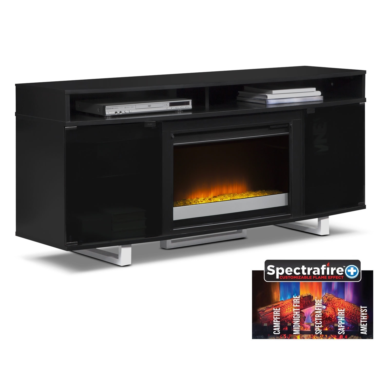 "Entertainment Furniture - Pacer 64"" Contemporary Fireplace TV Stand - Black"