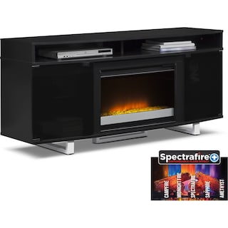 "Pacer 64"" Contemporary Fireplace TV Stand - Black"