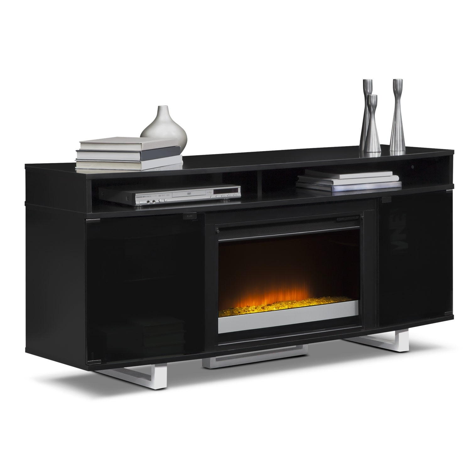 pacer 64 contemporary fireplace tv stand black