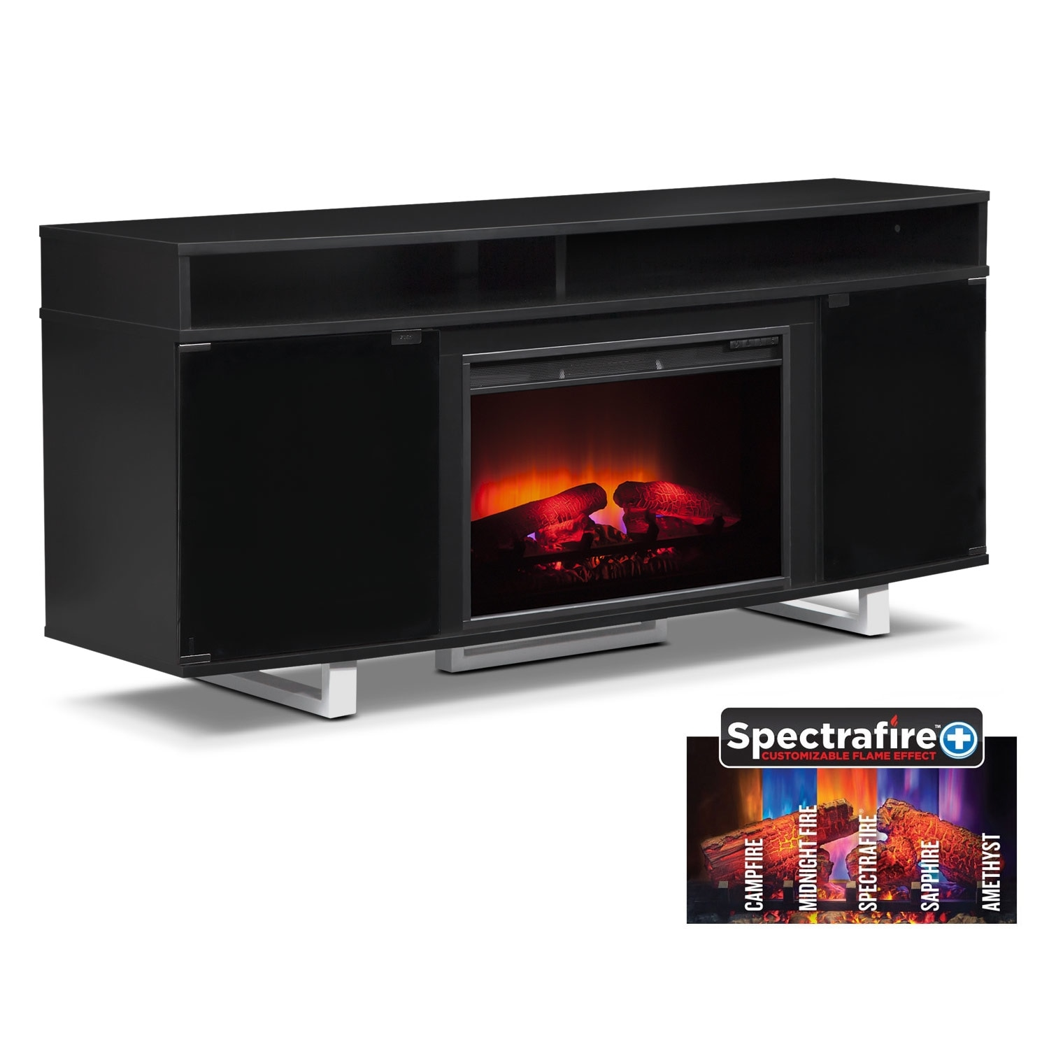 "Pacer 64"" Traditional Fireplace TV Stand - Black"