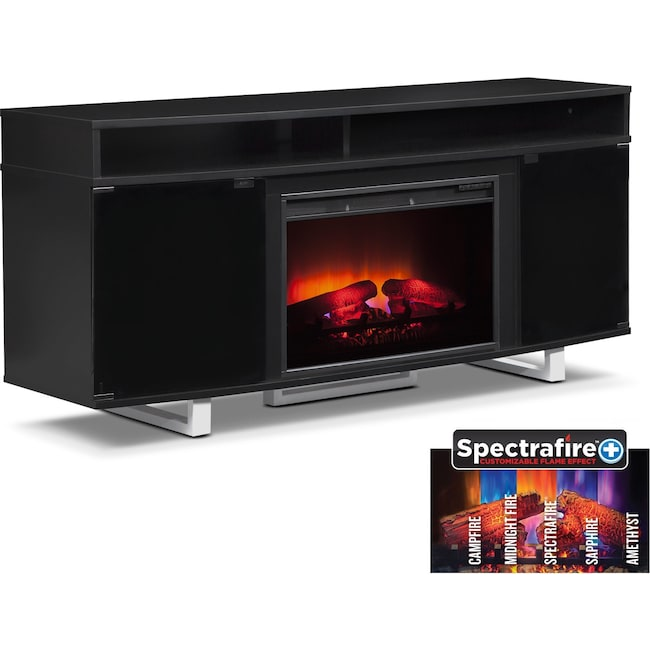"Entertainment Furniture - Pacer 64"" Traditional Fireplace TV Stand - Black"