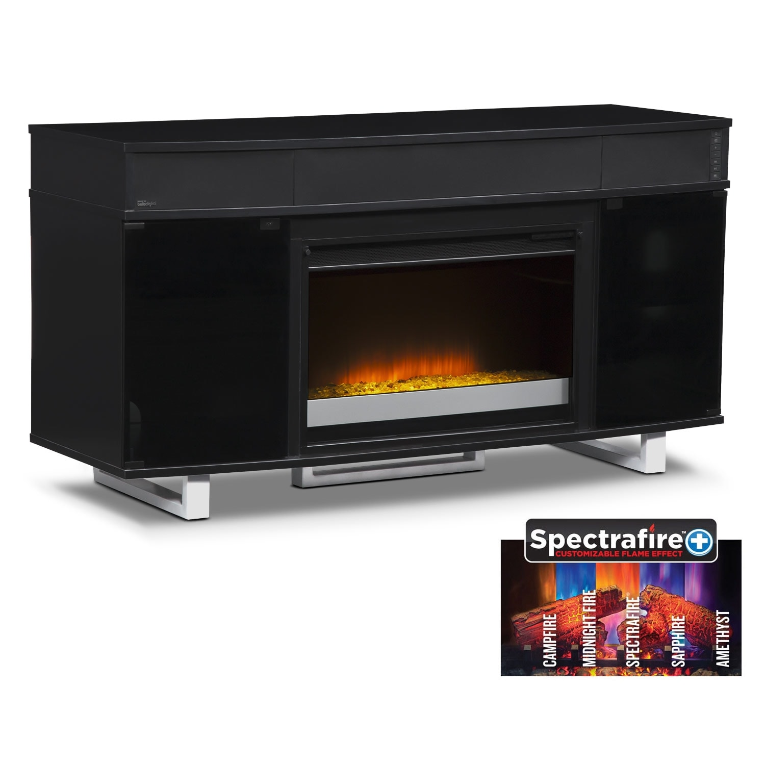 "Entertainment Furniture - Pacer 56"" Contemporary Fireplace TV Stand with Sound Bar - Black"