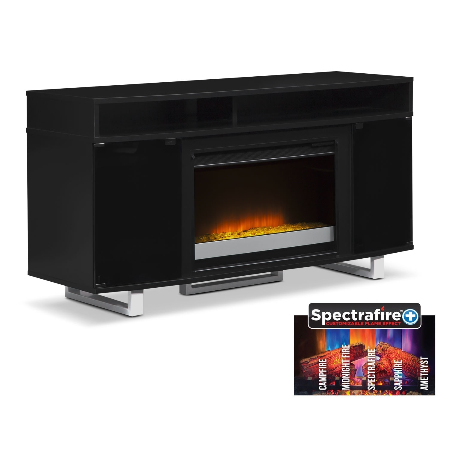 """Entertainment Furniture - Pacer 56"""" Contemporary Fireplace TV Stand - Black"""