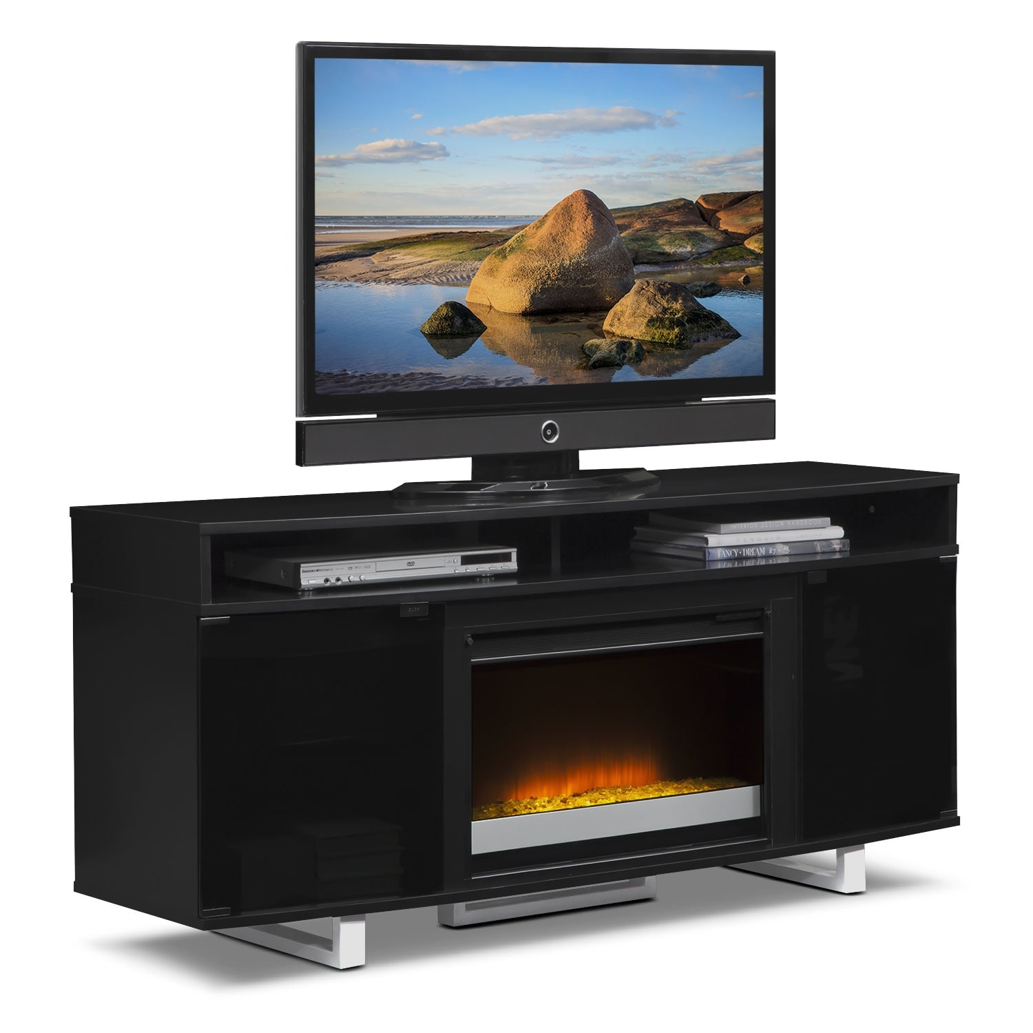 Pacer 64 Contemporary Fireplace Tv Stand Black American Signature Furniture