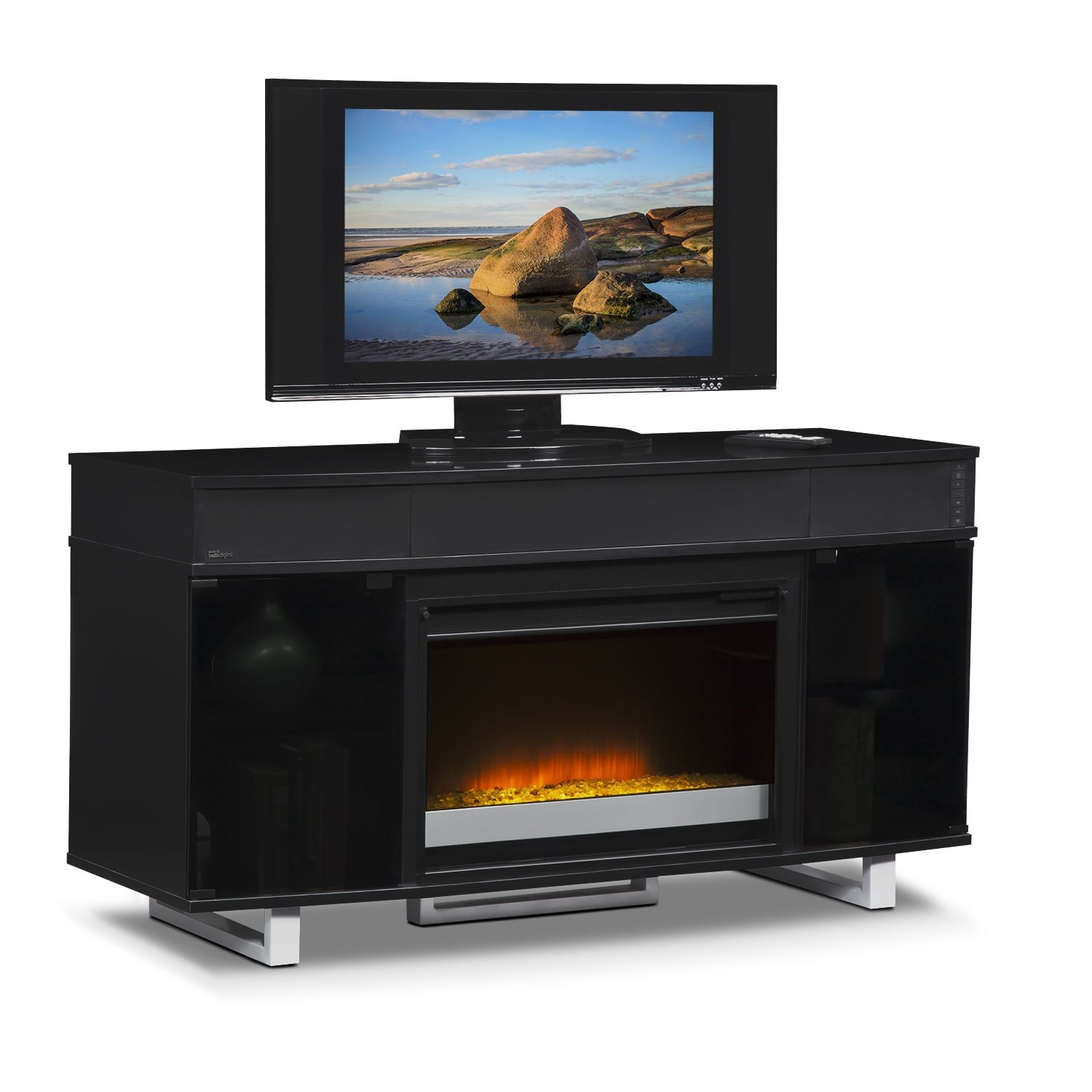 pacer 56 quot contemporary fireplace tv stand with sound bar