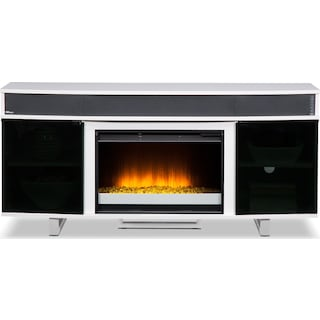 """Pacer 64"""" Contemporary Fireplace TV Stand with Sound Bar - White"""