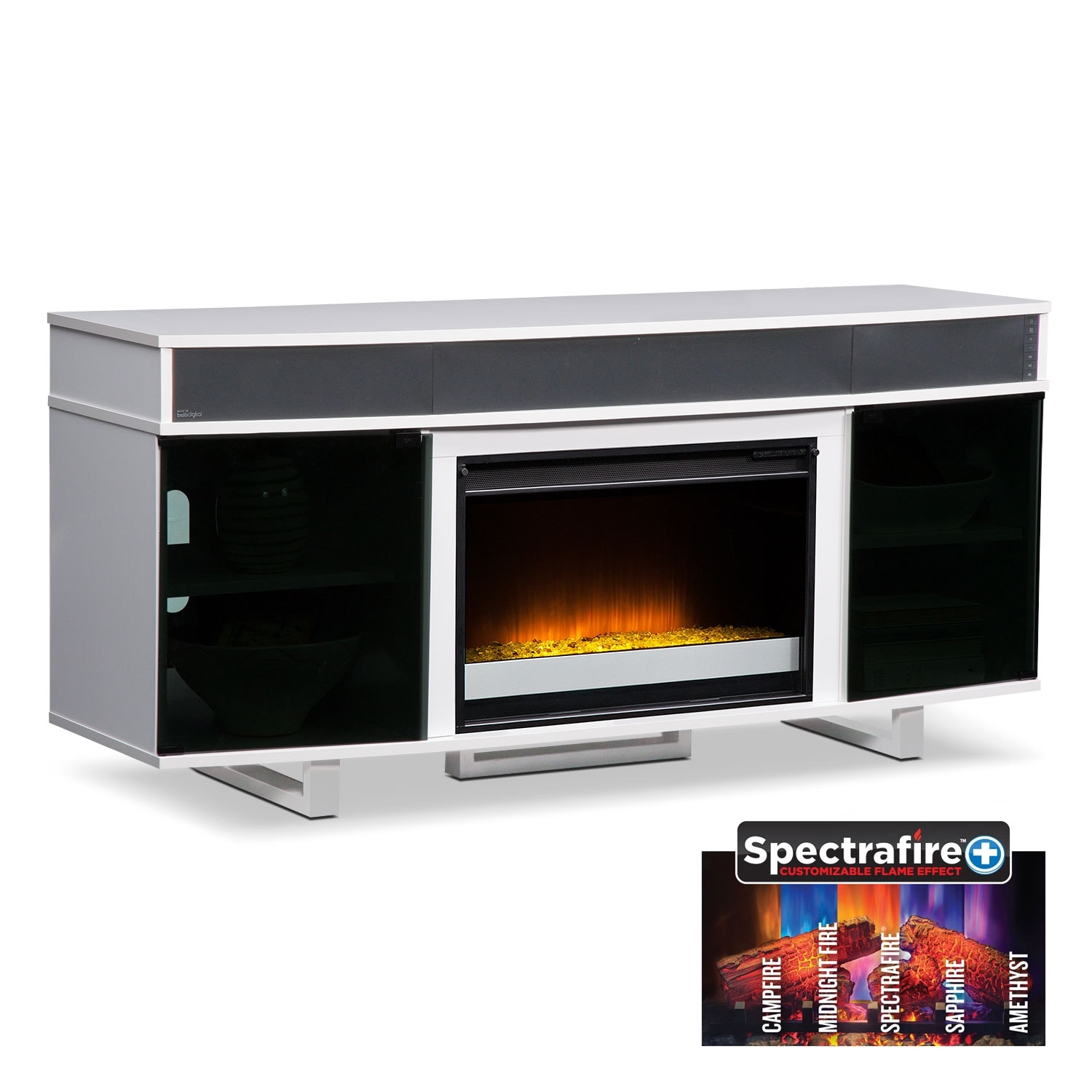 """Entertainment Furniture - Pacer White 64"""" Contemporary Fireplace TV Stand with Sound"""