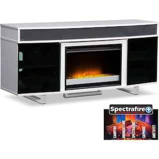 "Pacer 64"" Contemporary Fireplace TV Stand with Sound Bar - White"