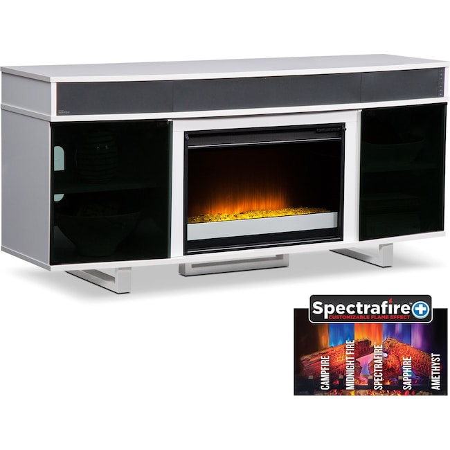 "Entertainment Furniture - Pacer 64"" Contemporary Fireplace TV Stand with Sound Bar - White"
