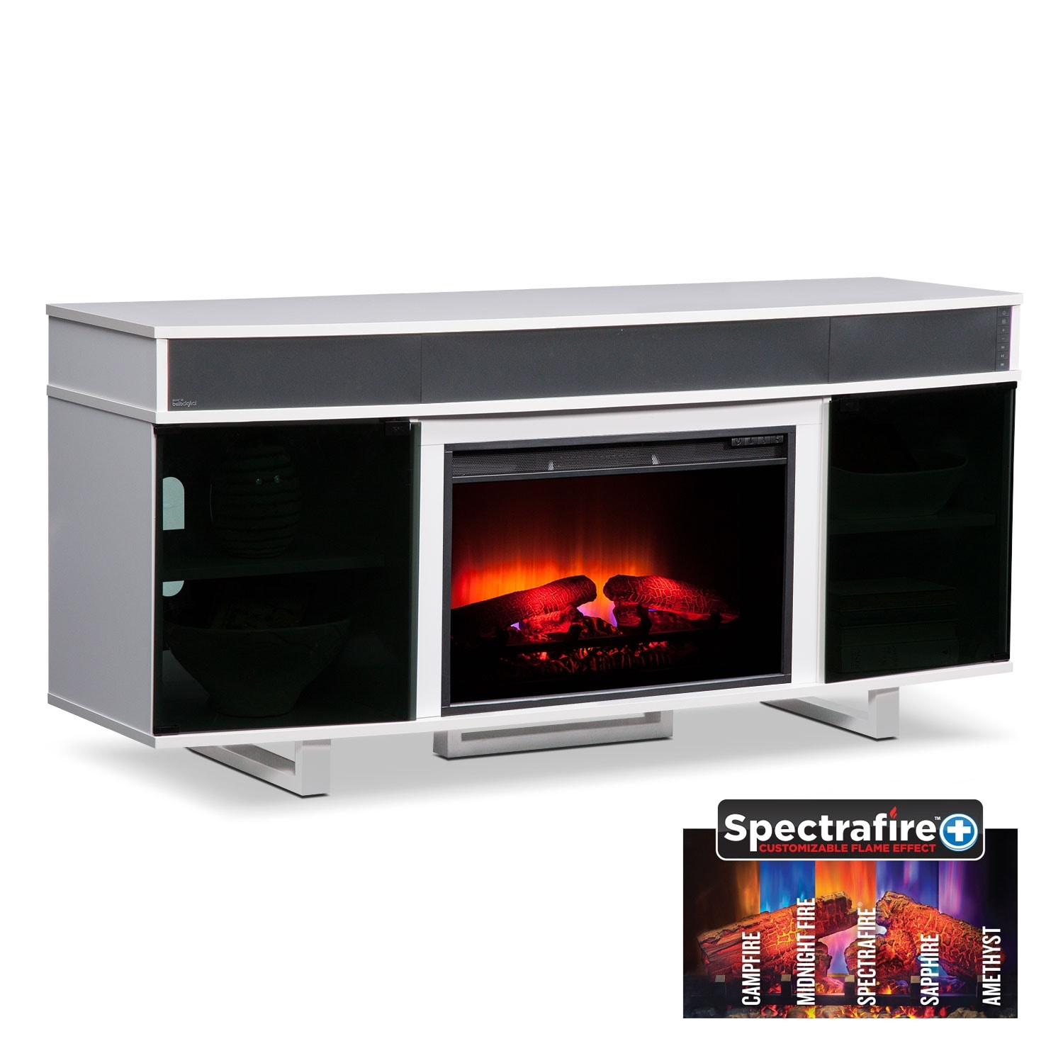 """Entertainment Furniture - Pacer White 64"""" Traditional Fireplace TV Stand with Sound"""