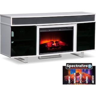 "Pacer 64"" Traditional Fireplace TV Stand with Sound Bar - White"