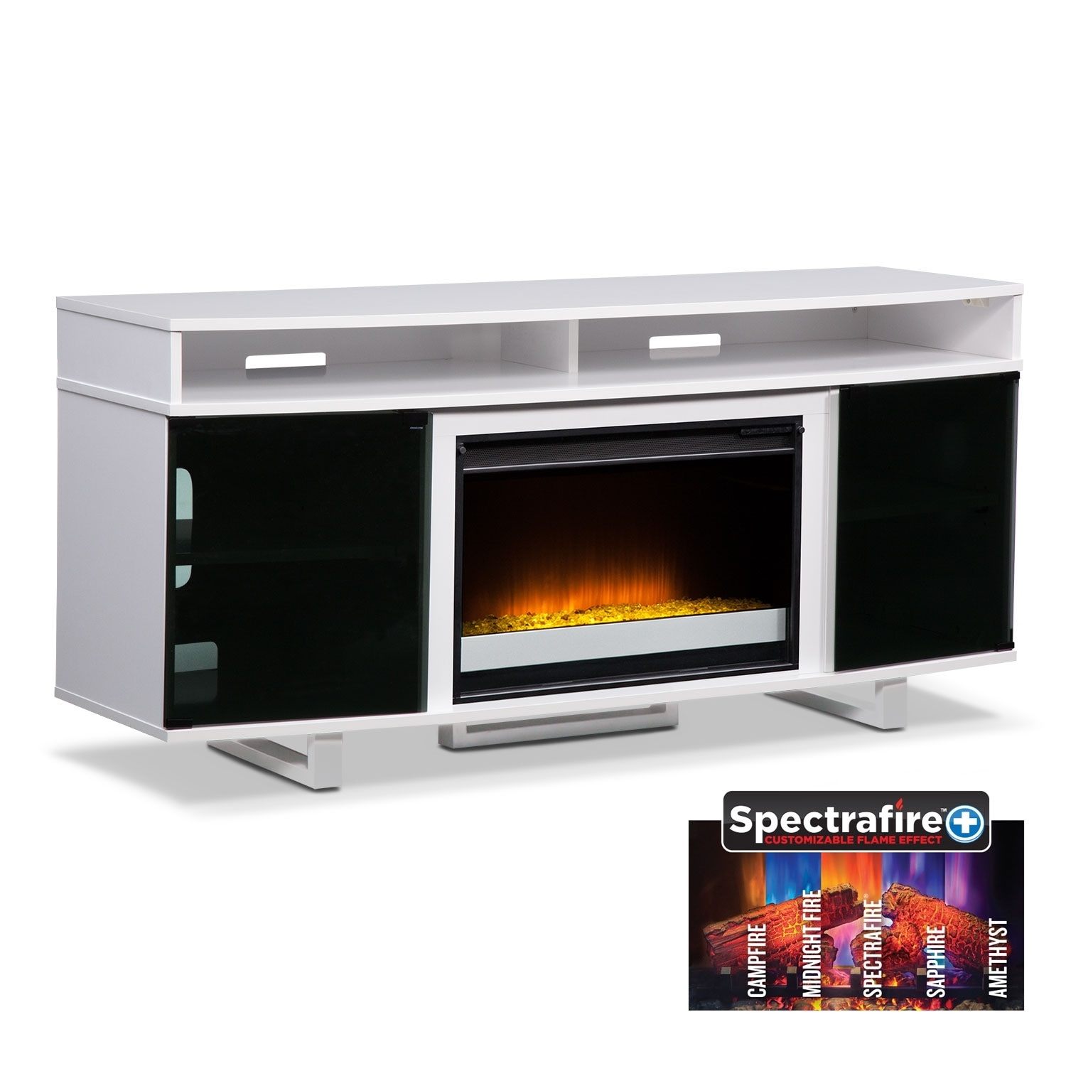 "Pacer 64"" Contemporary Fireplace TV Stand - White"