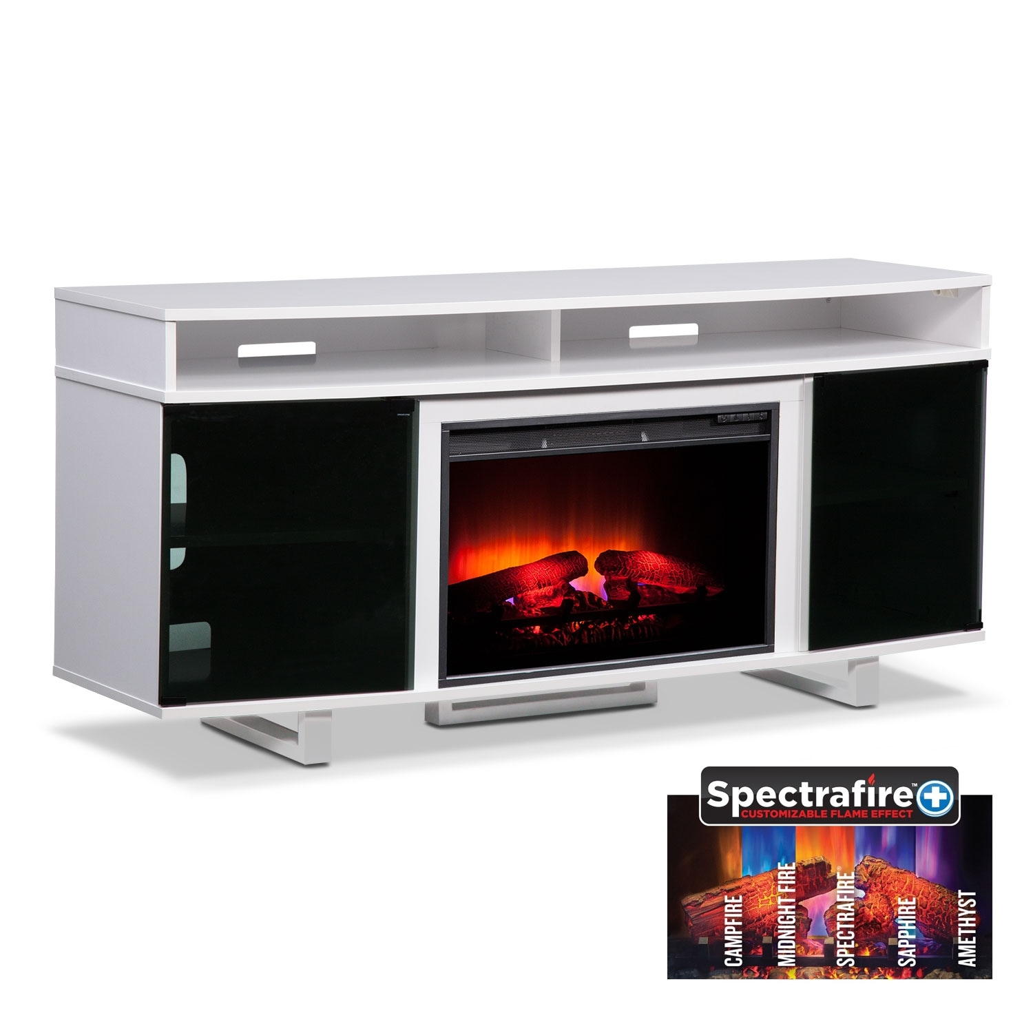 """Entertainment Furniture - Pacer 64"""" Traditional Fireplace TV Stand - White"""