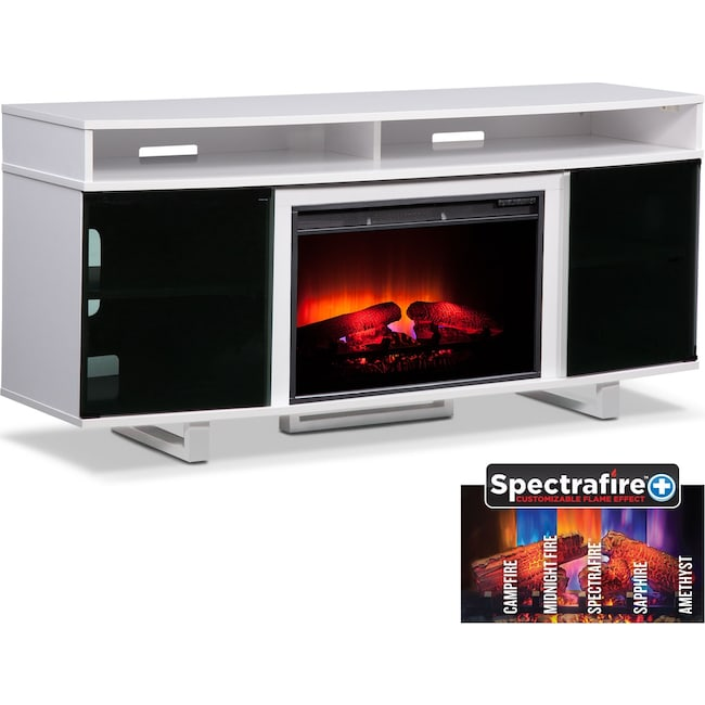 "Entertainment Furniture - Pacer 64"" Traditional Fireplace TV Stand - White"