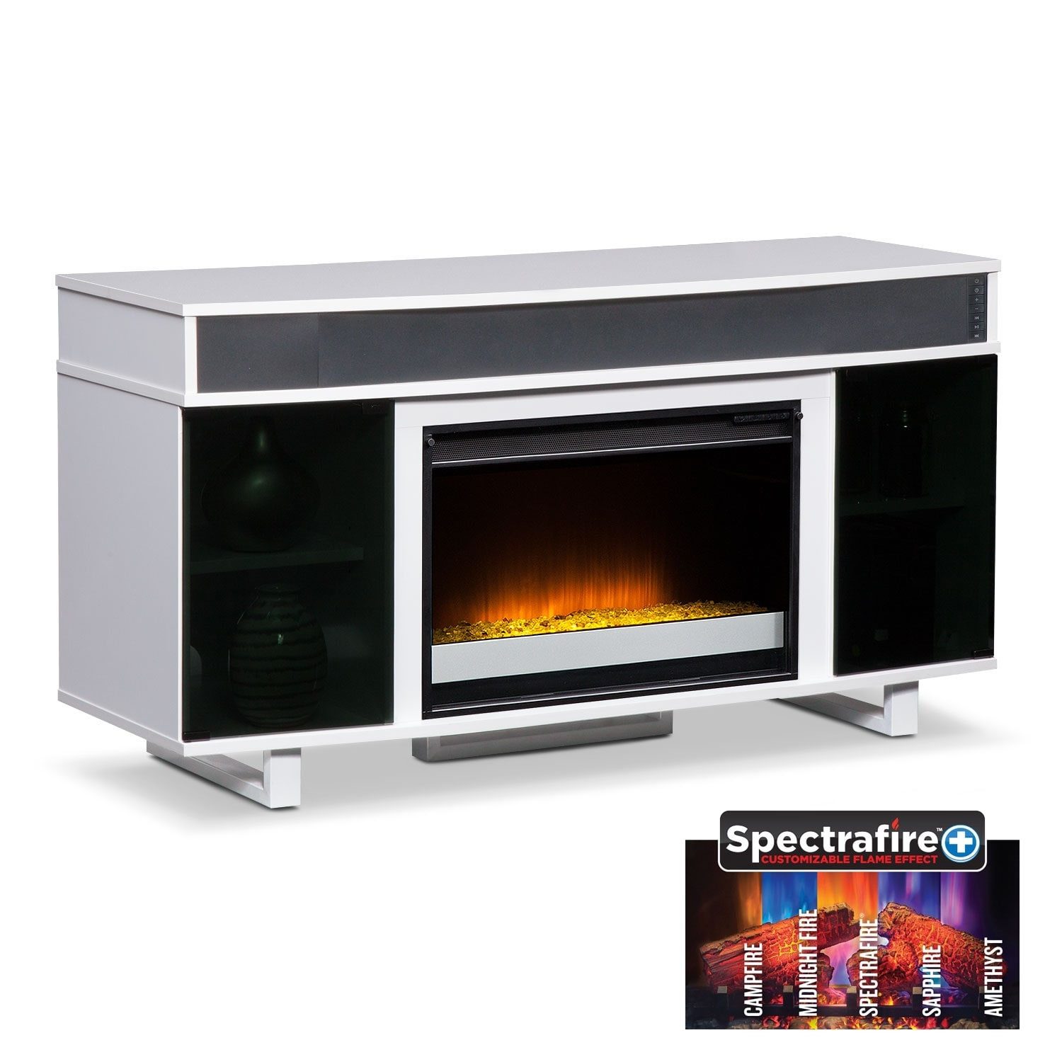 """Entertainment Furniture - Pacer 56"""" Contemporary Fireplace TV Stand with Sound Bar - White"""