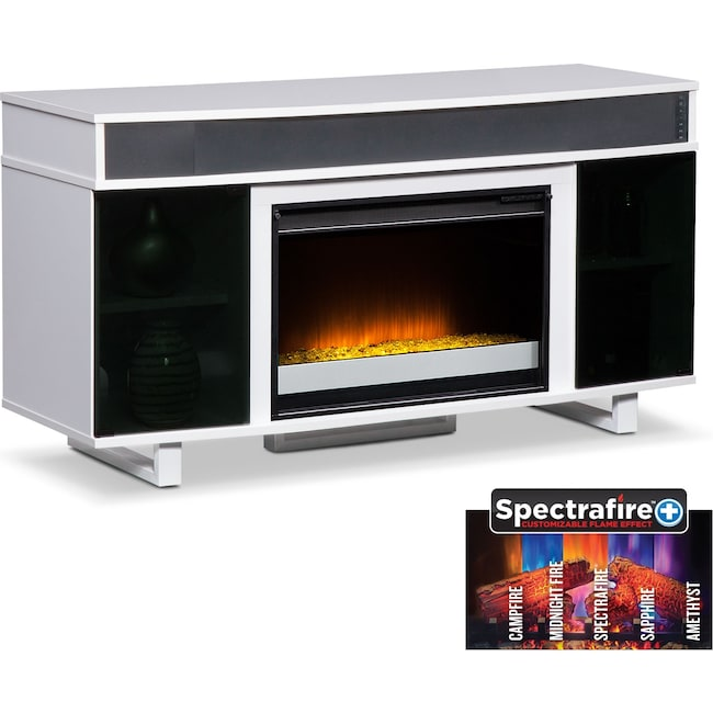 Pacer 56 Contemporary Fireplace Tv Stand With Sound Bar White