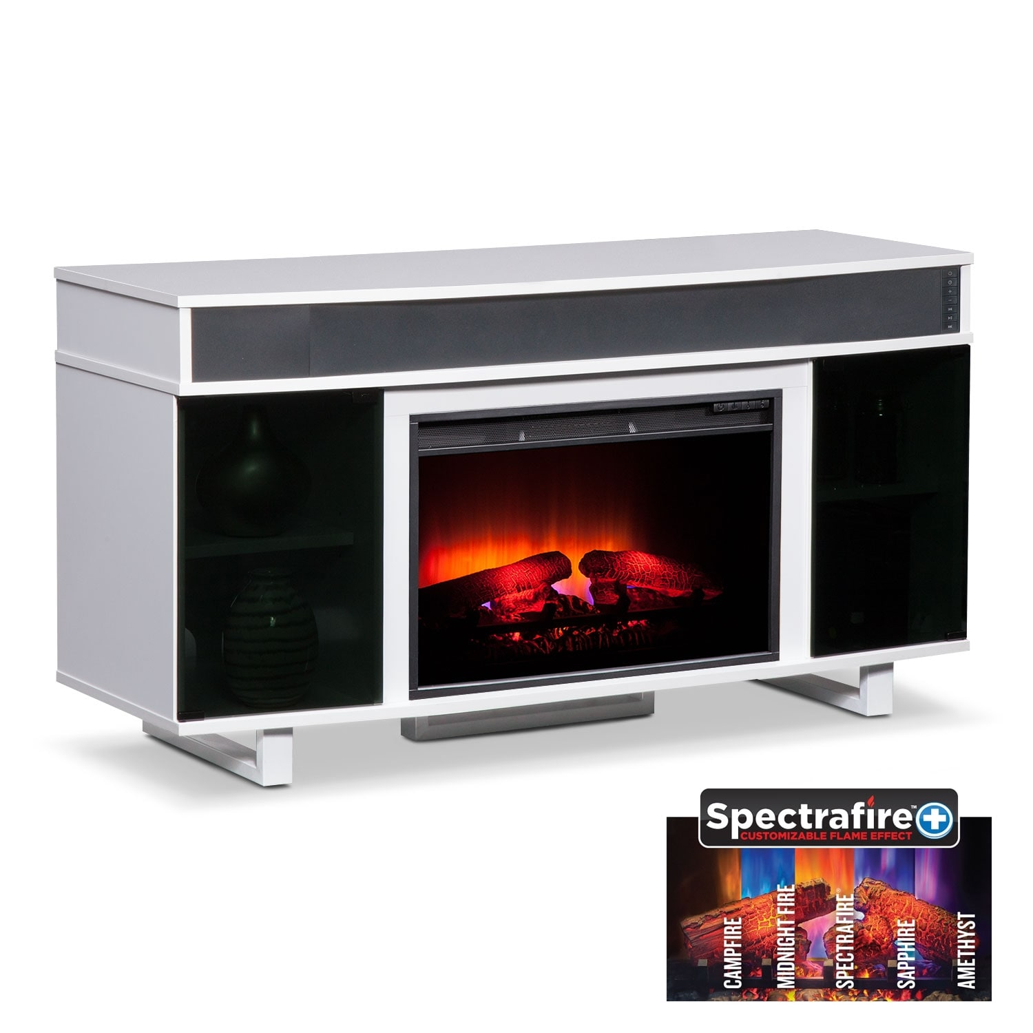 "Pacer 56"" Traditional Fireplace TV Stand with Sound Bar - White"