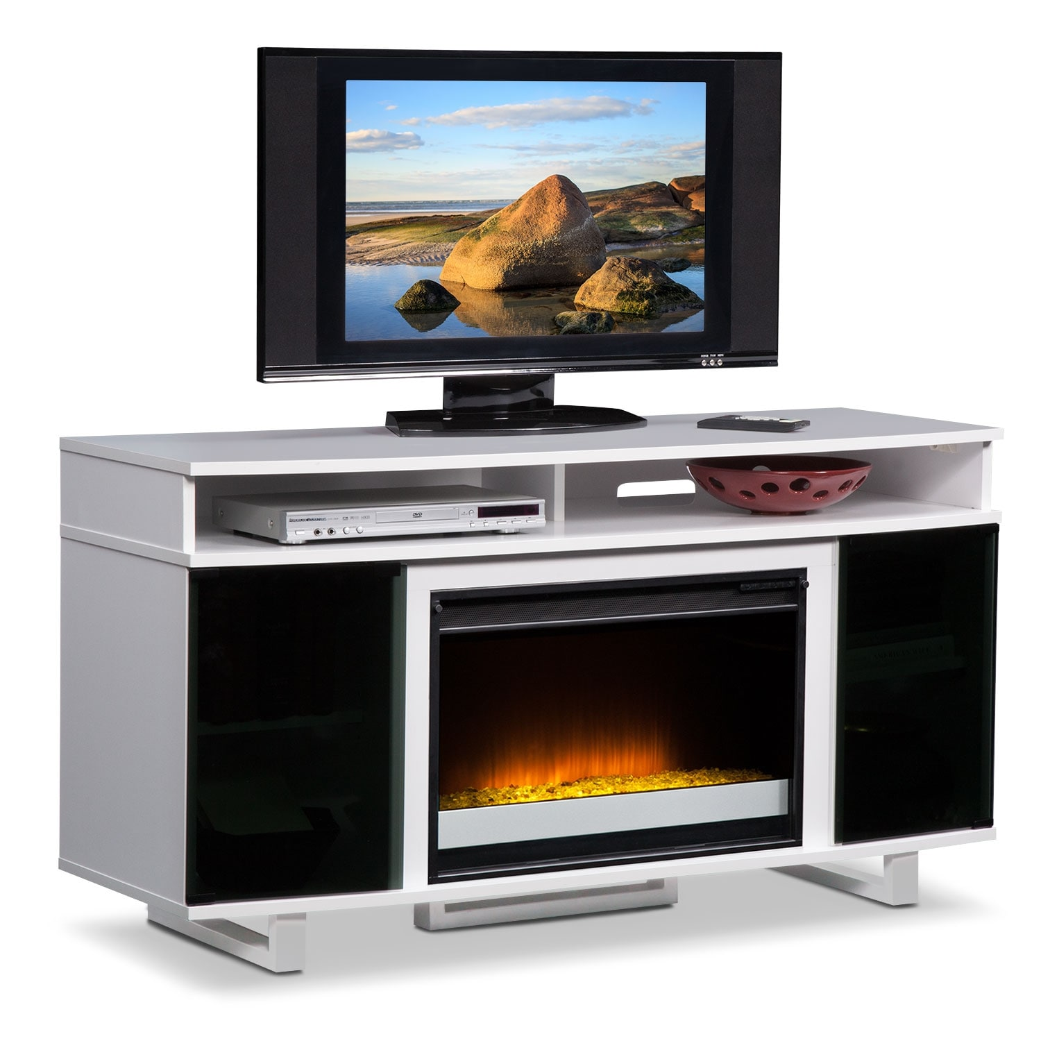 pacer 56 contemporary fireplace tv stand white