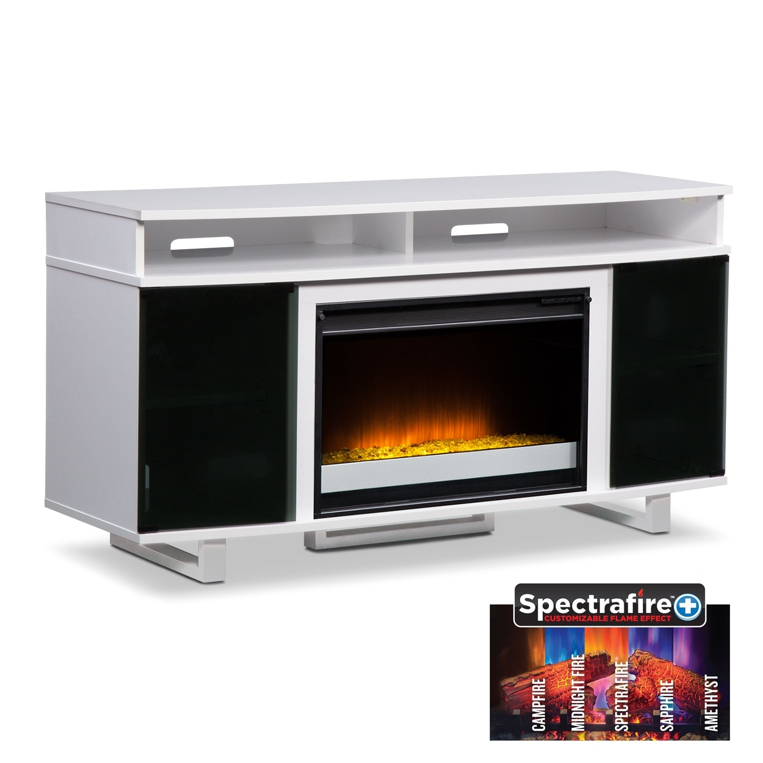 "Pacer 56"" Contemporary Fireplace TV Stand - White"