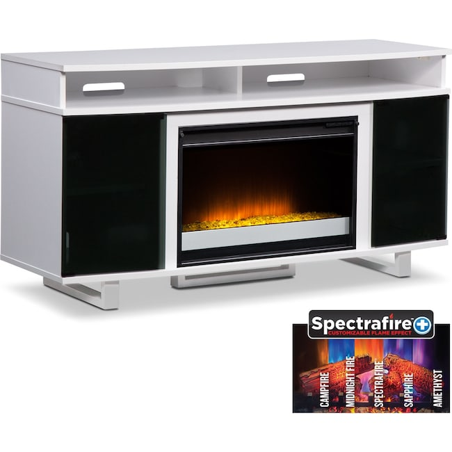 "Entertainment Furniture - Pacer 56"" Contemporary Fireplace TV Stand - White"