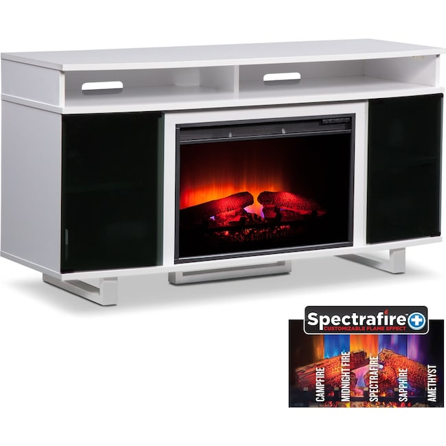 "Entertainment Furniture - Pacer 56"" Traditional Fireplace TV Stand - White"