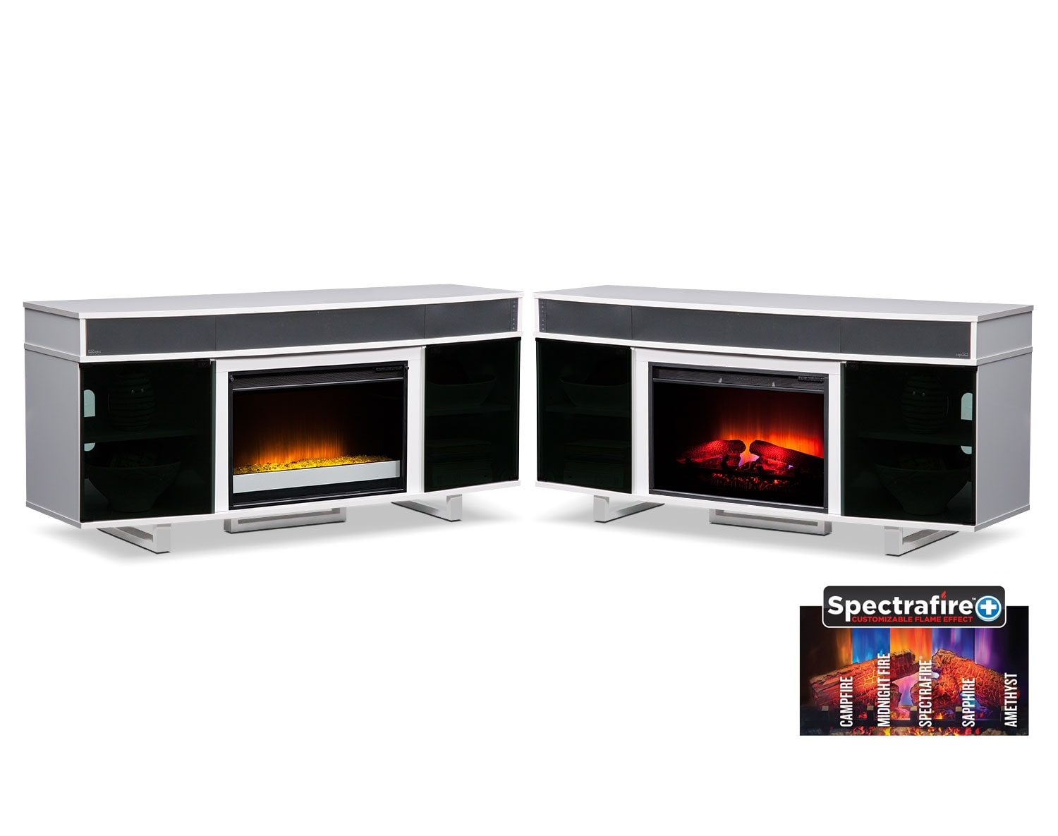 The Pacer Media Fireplace Collection- White