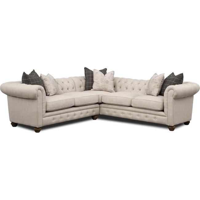 Living Room Furniture - Madeline 2-Piece Sectional - Beige